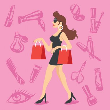 Attractive woman with shopping bags and cosmetics icons set