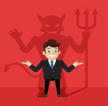 Businessman's devil shadow. Vector flat illustration