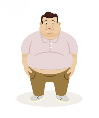 Fat man. Vector flat illustration