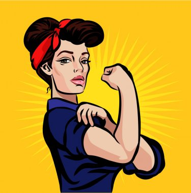 Vector strong pin up girl illustration