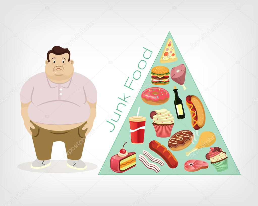 Vector fat man flat illustration