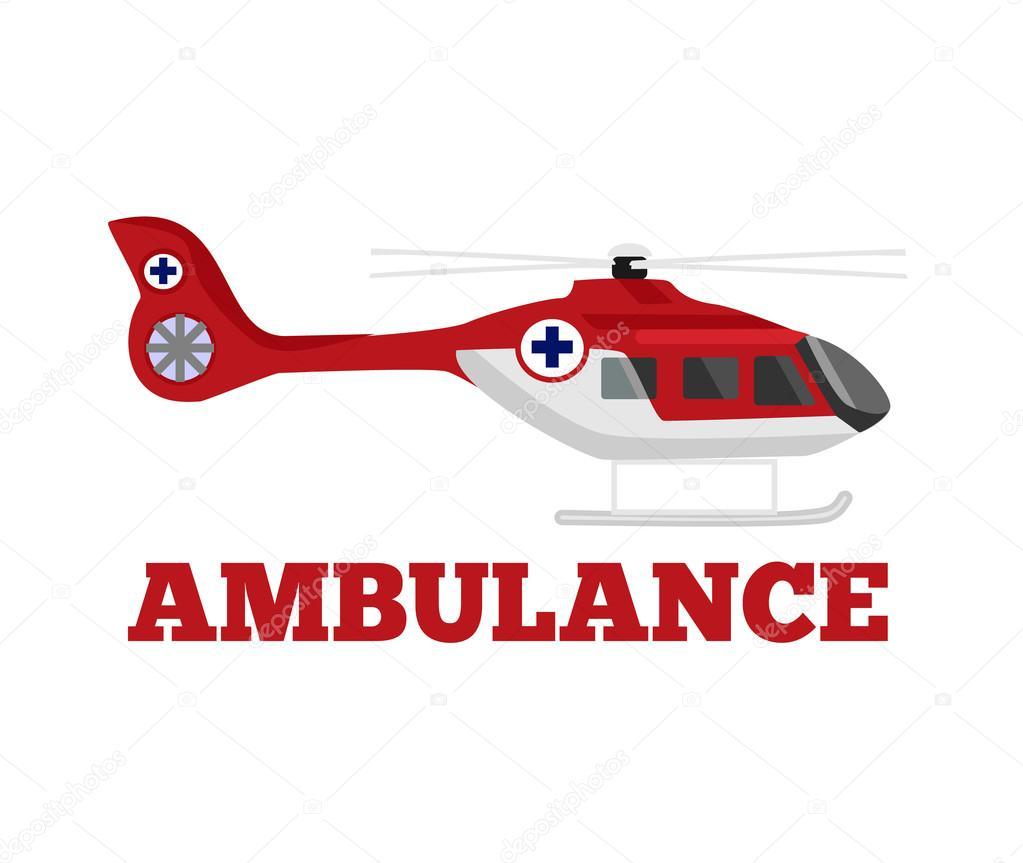 vector ambulance helicopter flat illustration stock