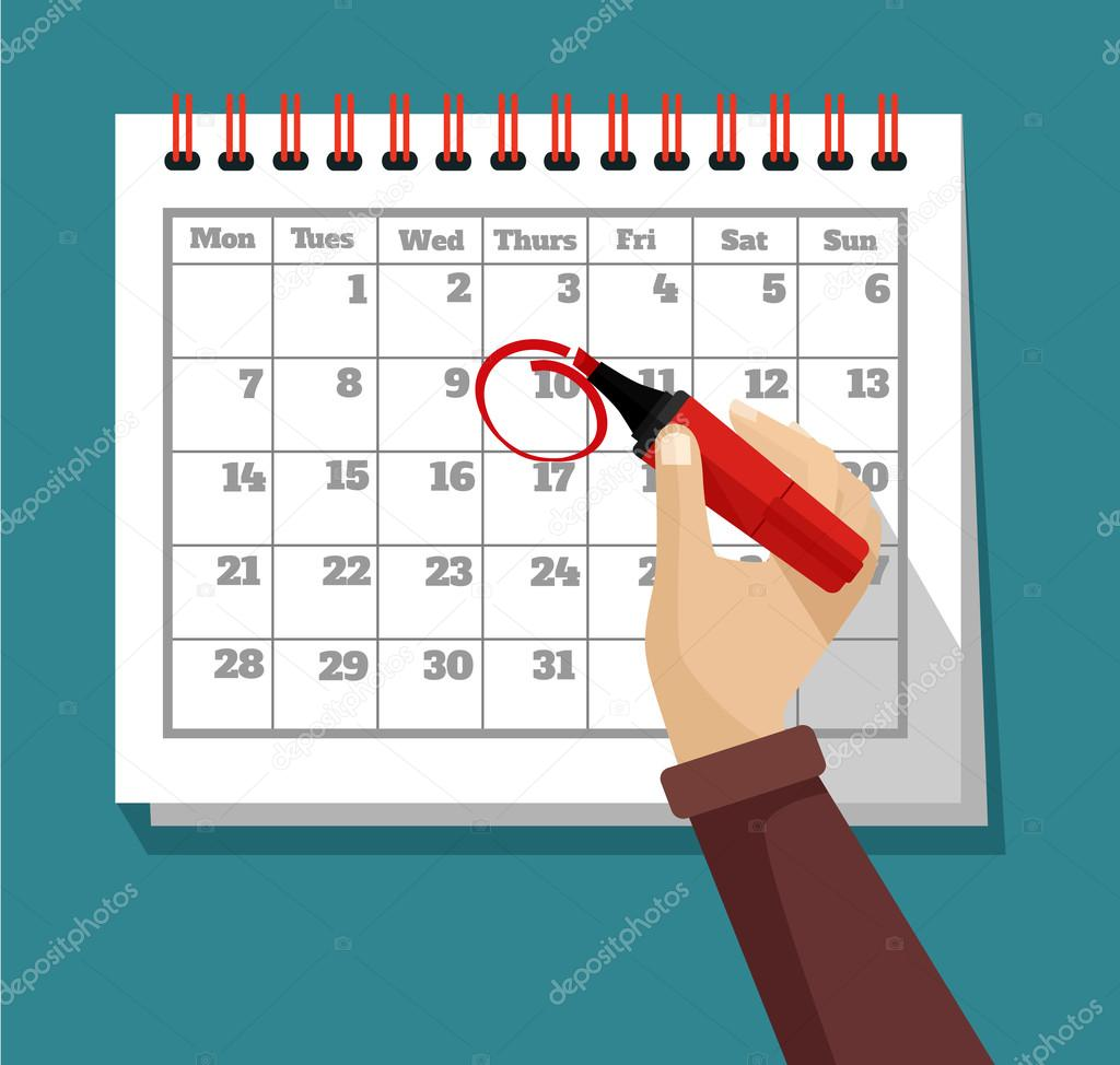 Vector flat calendar illustration — Stock Vector