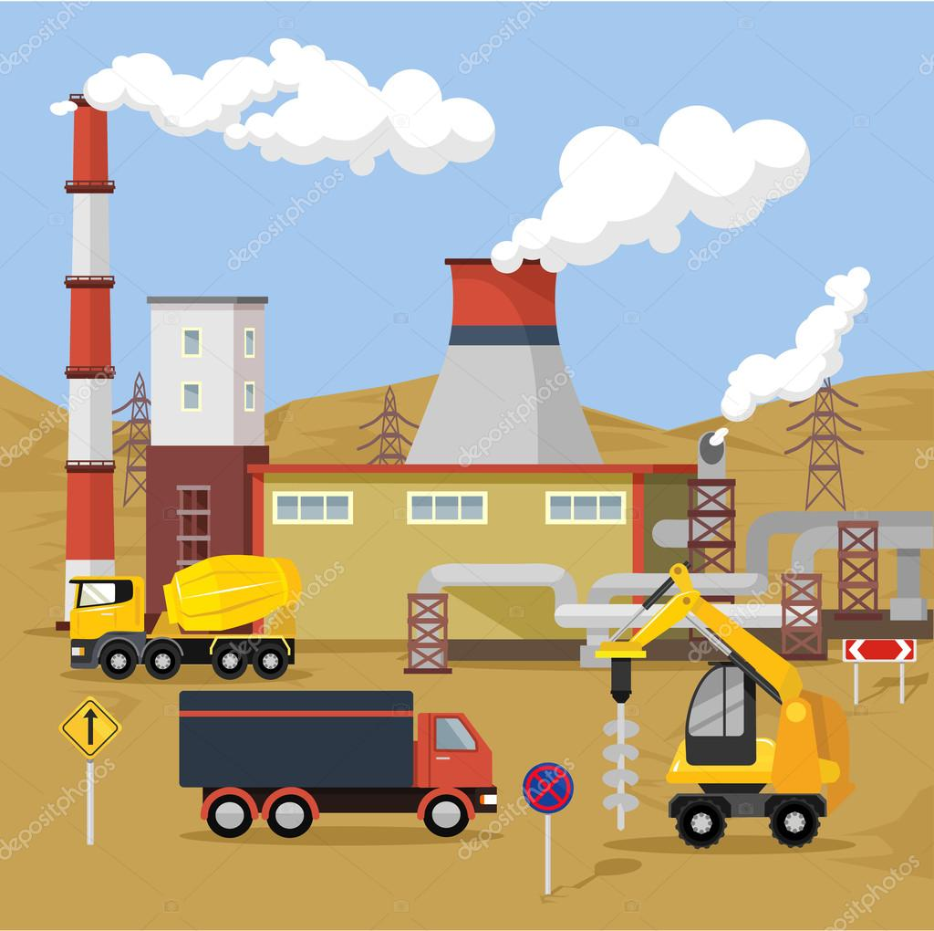 Vector flat factory illustration