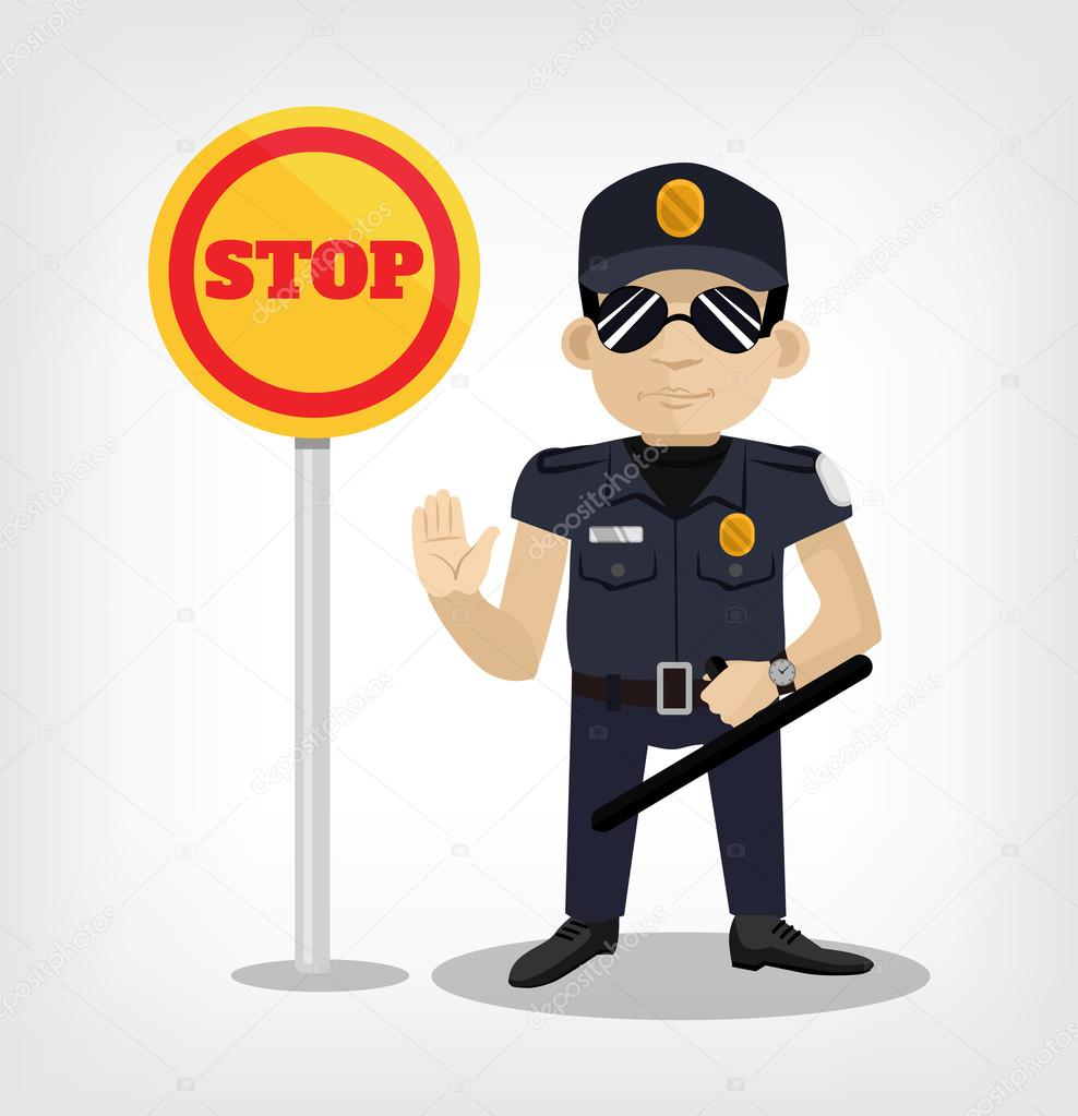 Policeman with stop sign. Vector flat illustration