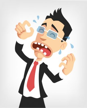 Frustrated businessman. Vector flat illustration