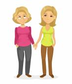 Fotografie Mom and daughter. Vector flat illustration