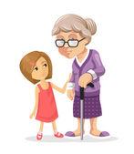 Fotografie Grandmother and granddaughter. Vector flat illustration