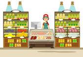 Fényképek Vektor szupermarket lapos illusztráció