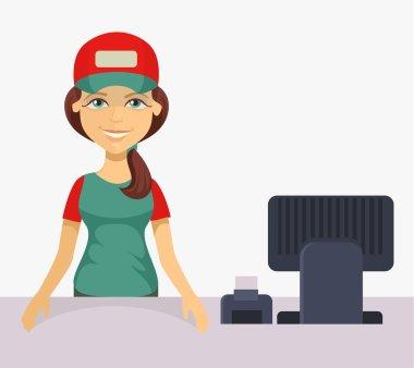 Vector cashier. Flat cartoon illustration
