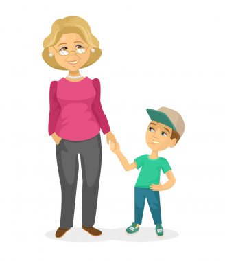 Grandmother and grandson. Vector flat illustration