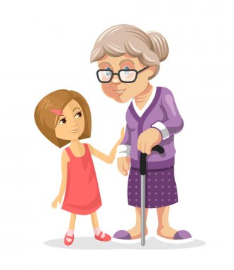 Grandmother and granddaughter. Vector flat illustration