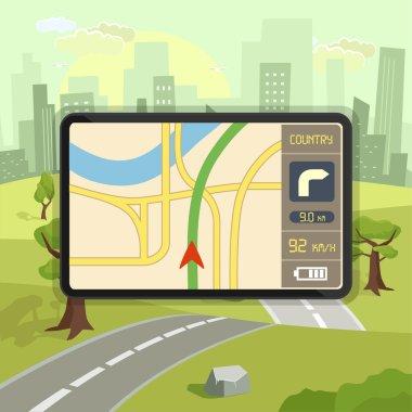 Mobile gps navigation. Vector flat illustration