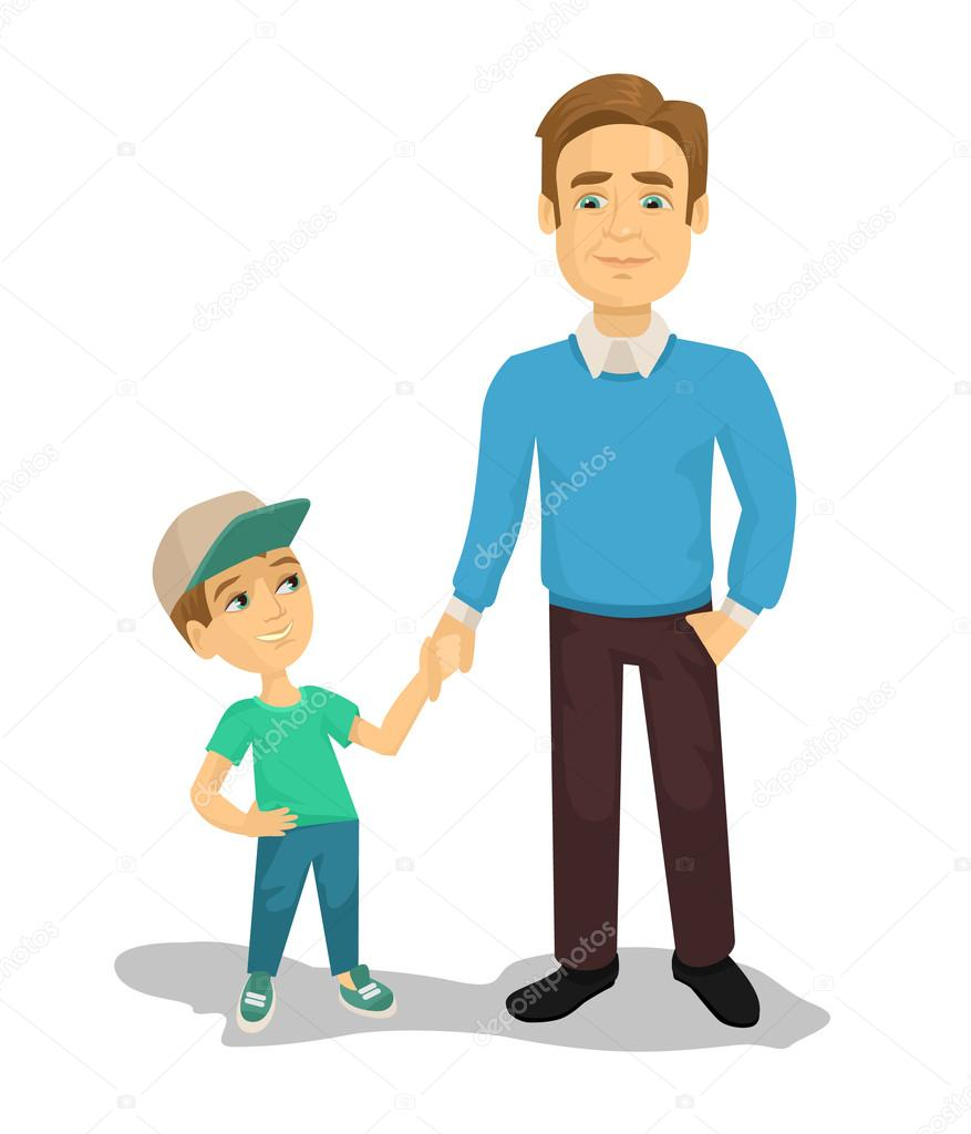 Vector Father And Son Flat Cartoon Illustration U2014 Stock Vector