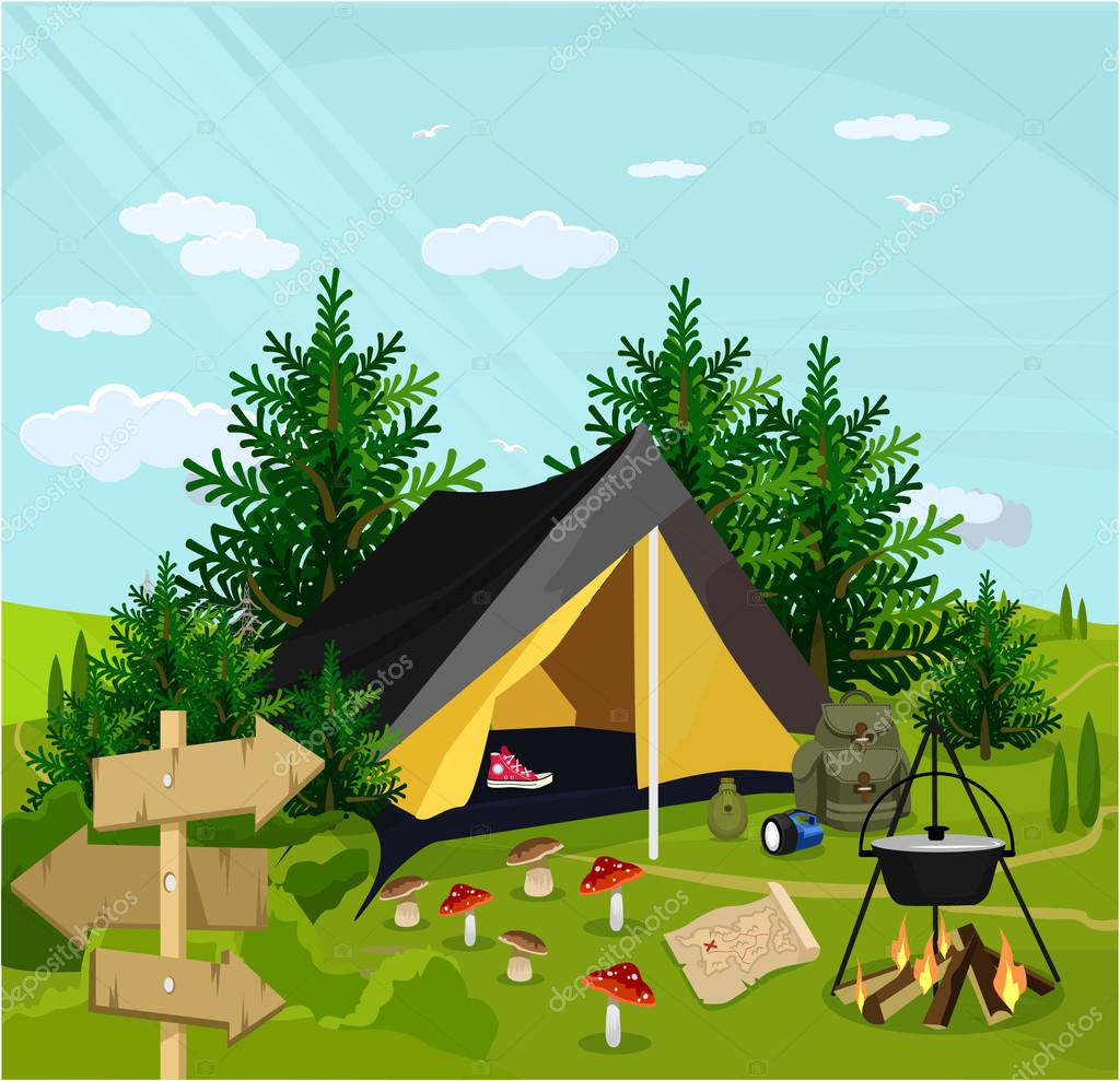 Vector camp flat cartoon illustration