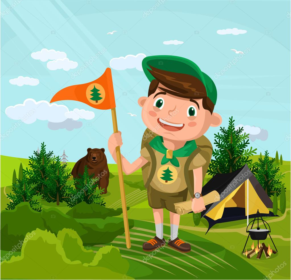 Summer camp with boy. Vector flat cartoon illustration