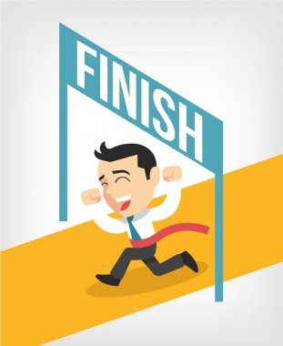 Businessman running at the finish line. Vector flat illustration