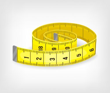 Yellow tape measure in inches. Vector illustration