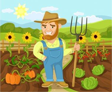 Vector farm flat cartoon illustration