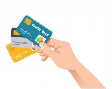 Hand holding credit card. Vector flat illustration