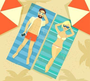 Man and woman sunbathing. Vector flat illustration