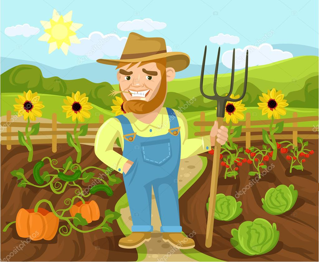 Vector farm flat cartoon illustration