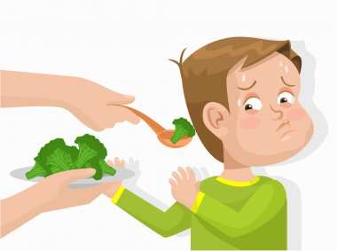 Child does not want to eat broccoli. Vector flat illustration
