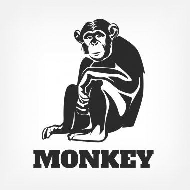 Vector monkey black illustration