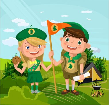 Summer camp with boy and girl. Vector flat cartoon illustration stock vector