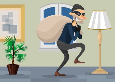 Thief in room vector flat illustration