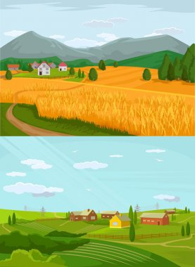Vector village flat illustration set
