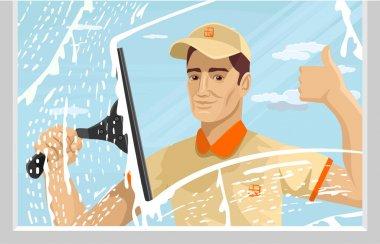Man cleaning window. Vector flat illustration