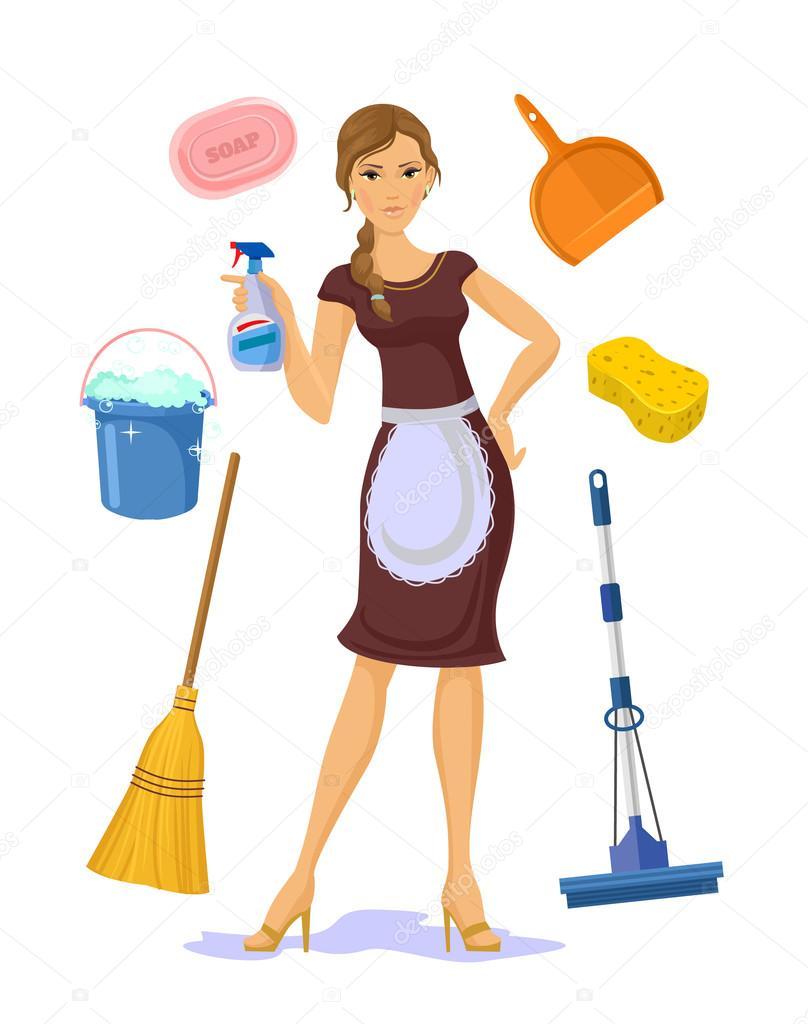 Vector housewife flat cartoon illustration stock vector - Imagenes de limpieza de casas ...