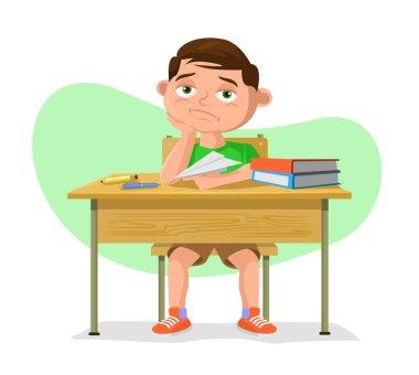 Vector schoolboy flat cartoon illustration