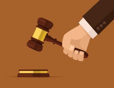 Hand holding judges gavel. Vector flat cartoon illustration
