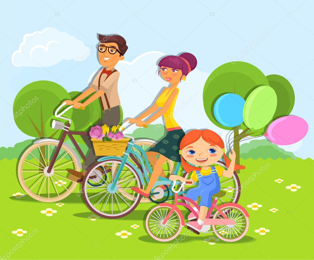 Family rides bike. Vector cartoon flat illustration