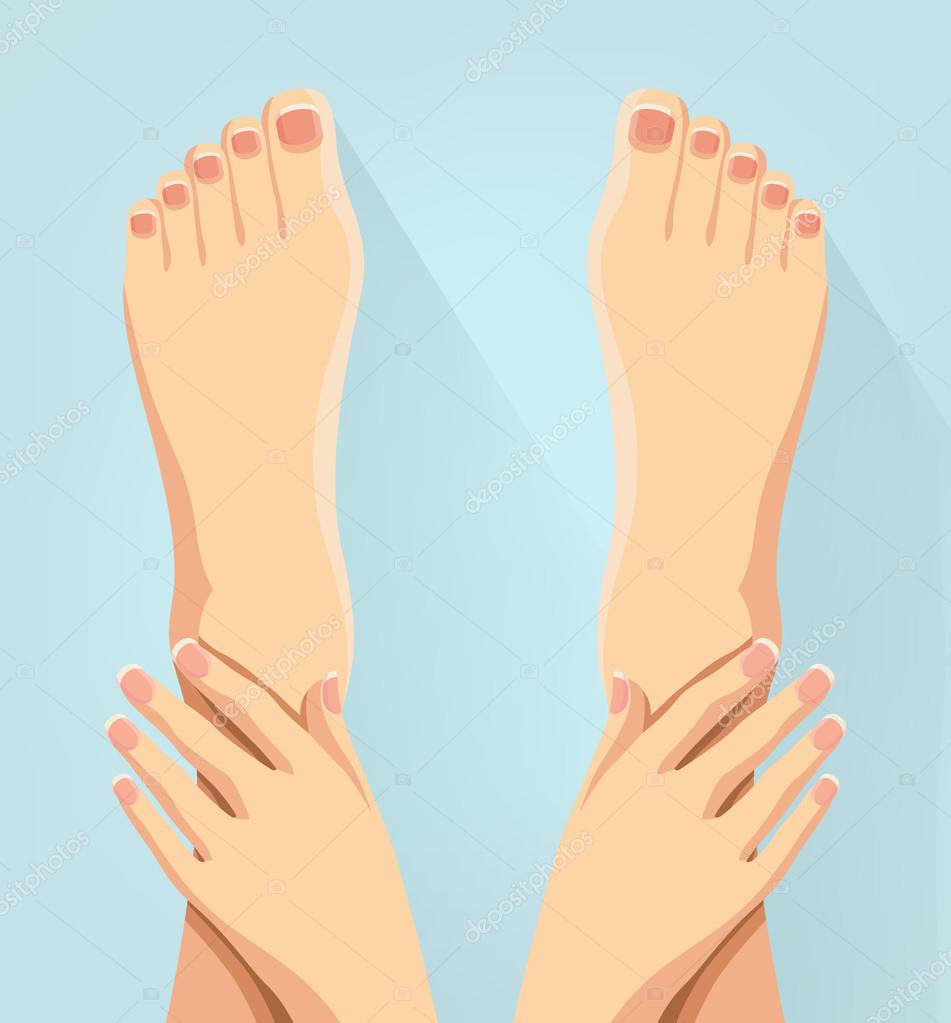 Hands and feet. Vector flat illustration