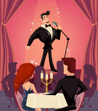 Singer in restaurant. Vector flat cartoon illustration
