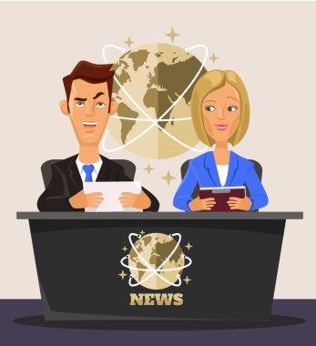TV News. Vector flat cartoon illustration