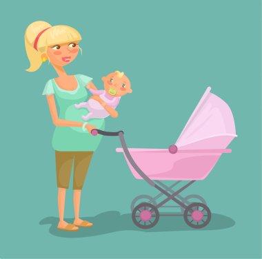 Woman with child. Vector flat cartoon illustration