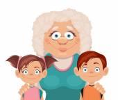 Grandmother and grandchildren. Vector flat illustration