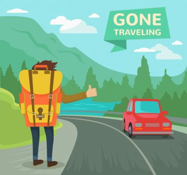Hitchhiking tourism concept. Vector flat illustration