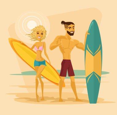 Surfing couple. Vector flat cartoon illustration