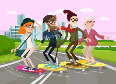 Skater family. Vector flat cartoon illustration