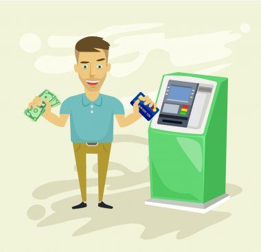Businessman withdrawing money from ATM. Vector flat illustration