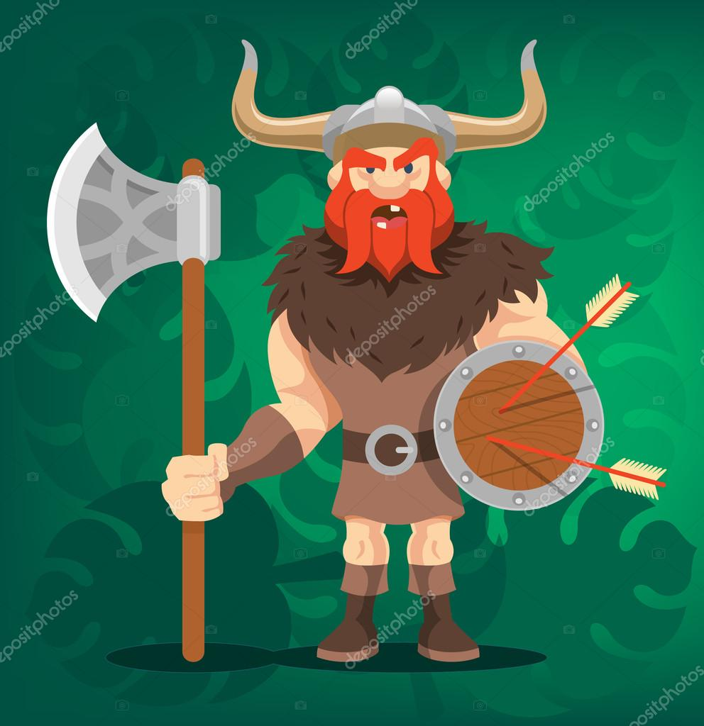 Vector Viking Funny Cartoon Illustration Stock Vector