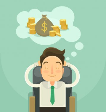 Businessman dreaming about money. Vector flat illustration