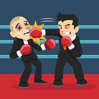 Businessman fighting. Vector flat illustration