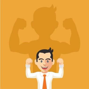 Businessman casting strong man shadow. Vector flat illustration