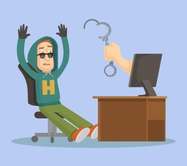 Hand catch hacker. Vector flat illustration